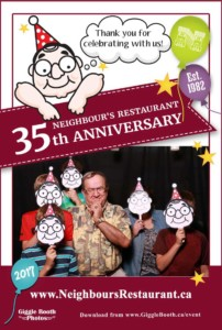 Neighbours Restaurant 35th Anniversary 2017